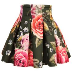 Green Floral Neoprene Skirt, Monnalisa, Girl 98UK Pound