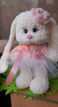 Plush white bunny toy plush rabbit stuffed bunny от PlushCreation