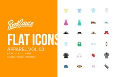 Clothes & Apparel Flat Icons Vol 03 by Pixel Sauce on @creativemarket