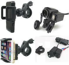 Kit Cargador Usb 12v Para Moto Y Base Para Celular Manubrio - $ 299.00