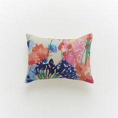 Spring and summer can be invited in my house through this little pillow. It pairs so well with my artwork too - ha! ... Siesta Floral Pillow Cover #WestElm