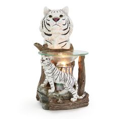 New WHITE TIGER Electric Tart/Scented Oil Warmer with Black Cylinder -Home decor $24.99 http://www.ebay.com/itm/251029845208?ssPageName=STRK:MESELX:IT&_trksid=p3984.m1555.l2649 visit and like us on facebook here https://www.facebook.com/pages/DDs-Gift-Shop/113955198649056?fref=ts