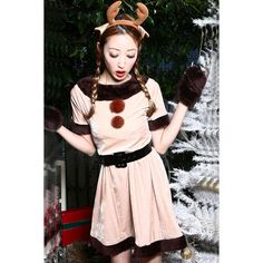 Khaki Cute Reindeer Costume ($27) ❤ liked on Polyvore featuring costumes, khaki, pink costume and pink halloween costumes