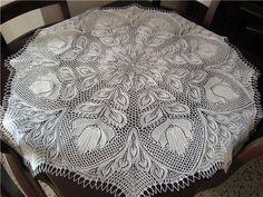 Схема вязания спицами скатерти
