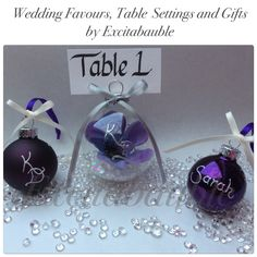 Cadbury purple Personalised glass Wedding Favours, Table Settings and Gifts www.excitabauble.co.uk