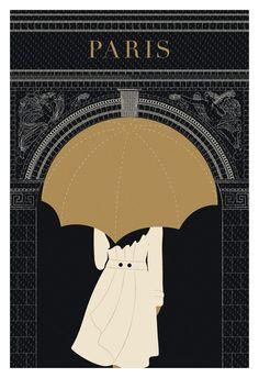 Paris Print, Paris Illustration, Umbrella, Arc de Triomphe, Black and Gold Paris Decor Art And Illustration, Illustration Parisienne, Vintage Illustrations, Fashion Illustrations, Art Deco Posters, Poster Prints, Art Prints, City Poster, Paris Poster