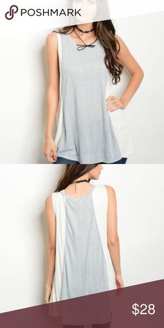 """Colorblock Top These sleeveless top are so cute!! Jersey knit top with 2 tone color block. Ivory color on each side with blue / gray on front and back.  Dress is up with your favorite statement jewelry Has good stretch  T-shirt material   78% polyester / 22% Rayon   ✨Small:Bust: 38"""" Length:28"""" ✨Medium:Bust: 40"""" Length:29 ✨Large:Bust:42"""" Length:29"""" Bewitched Boutique Tops Tank Tops"""