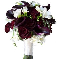 burgundy calla lily red rose white freesia wedding flower bouquet, bridal bouquet, wedding flowers, add pic source on comment and we will update it. can create this beautiful wedding flower look. Dark Purple Wedding, Burgundy Wedding Flowers, Dark Purple Flowers, Purple Wedding Bouquets, Diy Wedding Flowers, Flower Bouquet Wedding, Autum Wedding, Deep Purple, Bridal Flowers