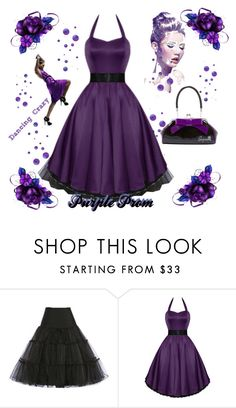"""Purple Prom"" by modern-grease ❤ liked on Polyvore featuring vintage"