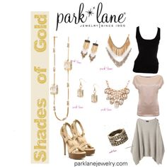 """Shades of Gold"" by parklanejewelry on Polyvore"