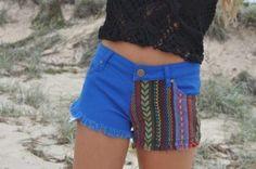 shorts indian blue pattern design aztec