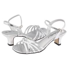 $45, Silver Leather Heeled Sandals: Coloriffics Deena Dress Sandals Silver Metallic. Sold by Zappos. Click for more info: https://lookastic.com/women/shop_items/57149/redirect