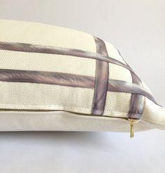 Lavender Ribbon Lumbar Pillow Cover with by HartleyJonesDesign