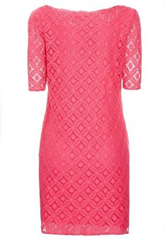 Red Geometric Hollow-out Round Neck Lace Dress