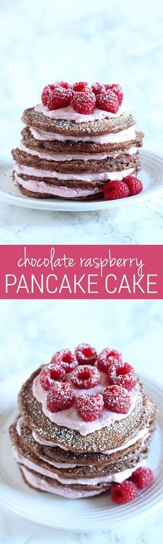 Chocolate Raspberry Pancake Cake. Is this a breakfast or a dessert? I guess you'll have to decide.