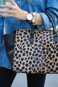 Clare V leopard tote… love , chambray, black leggings or skinnys, wrist stack