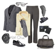 """""""Men's Business Trip"""" by keri-cruz ❤ liked on Polyvore featuring River Island, Armani Exchange, ETON, Marc, Prada, Stetson and Royce Leather"""