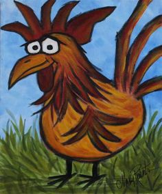 Big Man! This is an original, one of a kind whimsical, folk art painting of a grinning rooster –clearly big man on campus. https://www.etsy.com/listing/206672334/big-man-is-a-folk-art-acrylic-painting?ref=shop_home_active_1