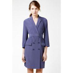 Lacoste Sleeve Crepe Silk Double Breast Trench Dress Aurora Purple, dress