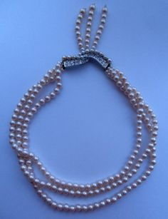 Vintage 1980 s 3-String Ladylike Faux-Pearl Bead Necklace w/ back Clasp-Tassel