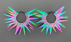 GO GLO Two-sided Hoops | ELLE TOBIN Rainbow Light, Chrome Colour, Glow, Handmade, Fashion, Moda, Hand Made, Fashion Styles, Sparkle
