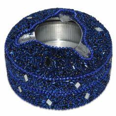 Blue Aluminium Beaded Ashtray from India