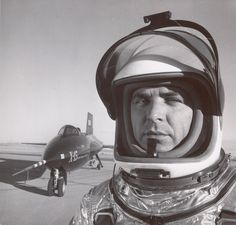 Arnold Newman - Major Robert Michael White, military aircraft test pilot, with X-15, California (1950)