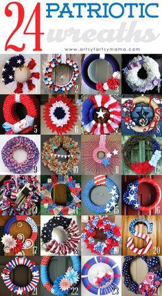 24 DIY Patriotic Wreaths #4thofJuly #wreath
