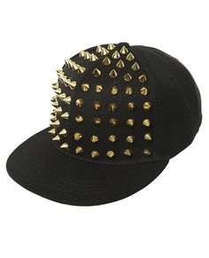 84479658068 Studded Baseball Hat from Wet Seal  studs  gold  spiked Cool Flat Bill Hats