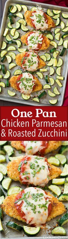 One Pan Chicken Parmesan and Roasted Zucchini - try this with oat or almond flour to make it fix-approved - or whole wheat bread crumbs(Zuchinni Noodle Recipes) Healthy Recipes, Cooking Recipes, Pan Cooking, Enjoy Your Meal, One Pan Chicken, Baked Chicken, One Pot Meals, I Love Food, Food Dishes