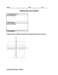 This worksheet was made so the students could practice finding the x- and y-intercepts from linear equations and, then, graph them.  The worksheet provides workspace for calculating the intercepts and coordinate planes to graph the points and lines.  The worksheet provides good scaffolding for the students.