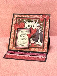 Valentine's Day Card Set Easel cards are always so impressive, especially when using dimensional foam adhesive to raise up various elements. By Annette Green Trifold Shutter Cards, Valentine Day Cards, Valentines, Creative Calendar, Anna Griffin Cards, Sweet Messages, Shaped Cards, Tent Cards, Barbie