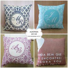 Almofadas decorativas!! Lembrança perfeita do casamento! Lembrança para padrinhos! Arte e Cia Design <3 Orçamento grátis aqui ➼ http://www.casareumbarato.com.br/guia/arte-cia-design/