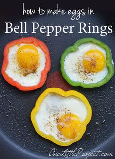 Yum, Eggs in Bell Pepper Rings, a gluten-free version of egg-in-a-hole, via Debbie @1littleproject. Pretty and healthy too!