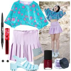 Melanie Martinez Style: Blue and Purple Fur Top by adventuretimekitty on Polyvore featuring Concrete Minerals, Lime Crime, Charlotte Russe, NARS Cosmetics, purple, red, Blue, Stealherstyle and melaniemartinez