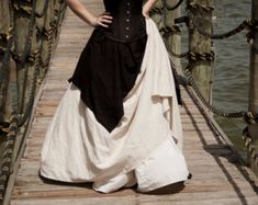 Natural Linen Long Renaissance Skirt Halloween Costume