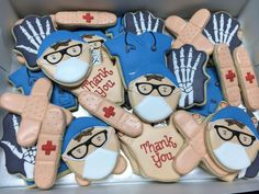 Surgery Thank You Cookies Cookie Cake Pie, Sugar Cookie Icing, Royal Icing Cookies, Cupcake Cookies, Sugar Cookies, Thank You Cookies, Fancy Cookies, Cut Out Cookies, Iced Cookies