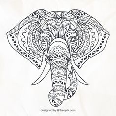 Hand drawn elephant in ethnic style Free... | Free Vector #Freepik #freevector #hand #nature #animal #hand-drawn Image Elephant, Elephant Outline, Elephant Colour, Elephant Images, Elephant Canvas, Asian Elephant, Elephant Design, Mandalas Painting, Mandalas Drawing