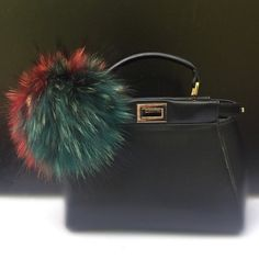 NEW Collection Dimensional Swirl Red / Green Raccoon Fur Pom Pom bag charm clover flower charm keychain