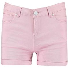 Boohoo Helen High Waisted Turn Up Denim Shorts (€24) ❤ liked on Polyvore