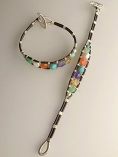 leather and wire beaded bracelet