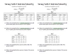 Worksheet Conditional Probability Worksheet math conditional probability and worksheets on pinterest teaching day 8 two way tables slightly skewed