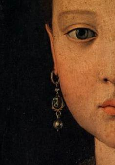 Portrait of Maria de' Medici by Agnelo Bronzino 1551 Tempera on wood (detail).
