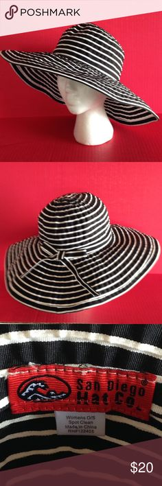"GLAM STRIPED WIDE BRIM HAT☀️🌴🍒 This superstar hat is excellent for going incognito or wear for instant allure on a bad hair day🙌 By San Diego Hat Company, 100%polyester and a women's size small. Inner circumference is 22"". Never worn; in excellent condition and packable, too! San Diego Hat Company Accessories Hats"