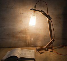 Wood Lamp desk lamp bottle lamp Recycled Bottle by EunaDesigns