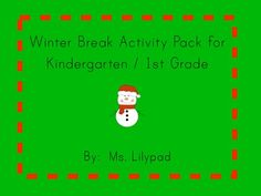 FREE winter break activity packet to send home with K/1 students