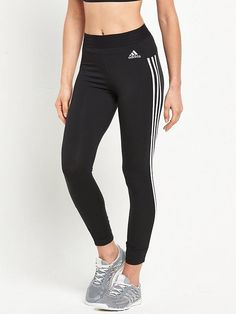 Adidas Essentials 3 Stripe Tight , Black, Size S, Women - Black - S Striped Tights, Black Tights, Sleek Foundation, High Leg Boots, Long Toes, Sporty Style, Essentials, Adidas, Legs