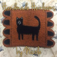 """OOAK """"Boo Kitty"""" Halloween Cat Mini Penny Rug with design by Badger Brook Farm - pinned by pin4etsy.com"""
