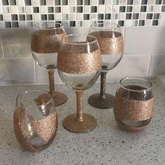 Video Tutorial DIY Glitter Wine Glasses #Glitter Dip #Glitter #DIY…
