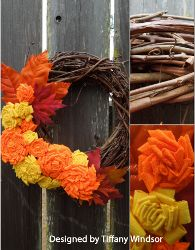 Fall Fabric Flower Wreath  (http://www.youtube.com/watch?feature=player_embedded=a0PM1GcHXpQ)